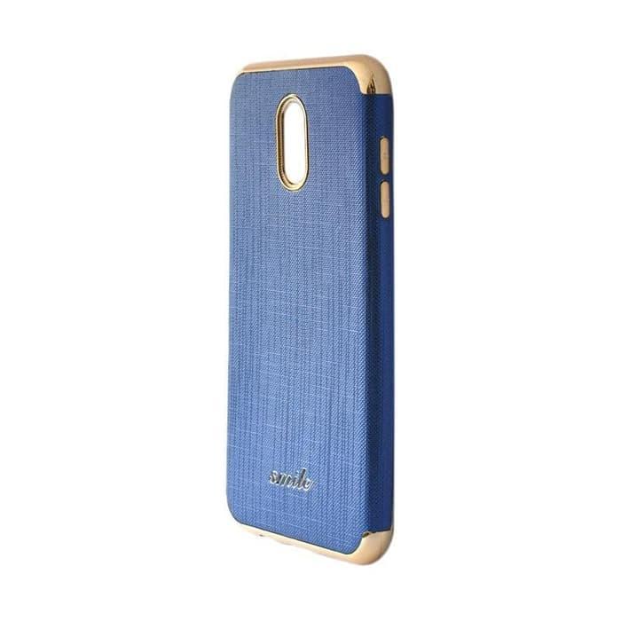 Features Smile Silkwood Denim Case 3in1 Samsung A6 Plus Biru Dongker