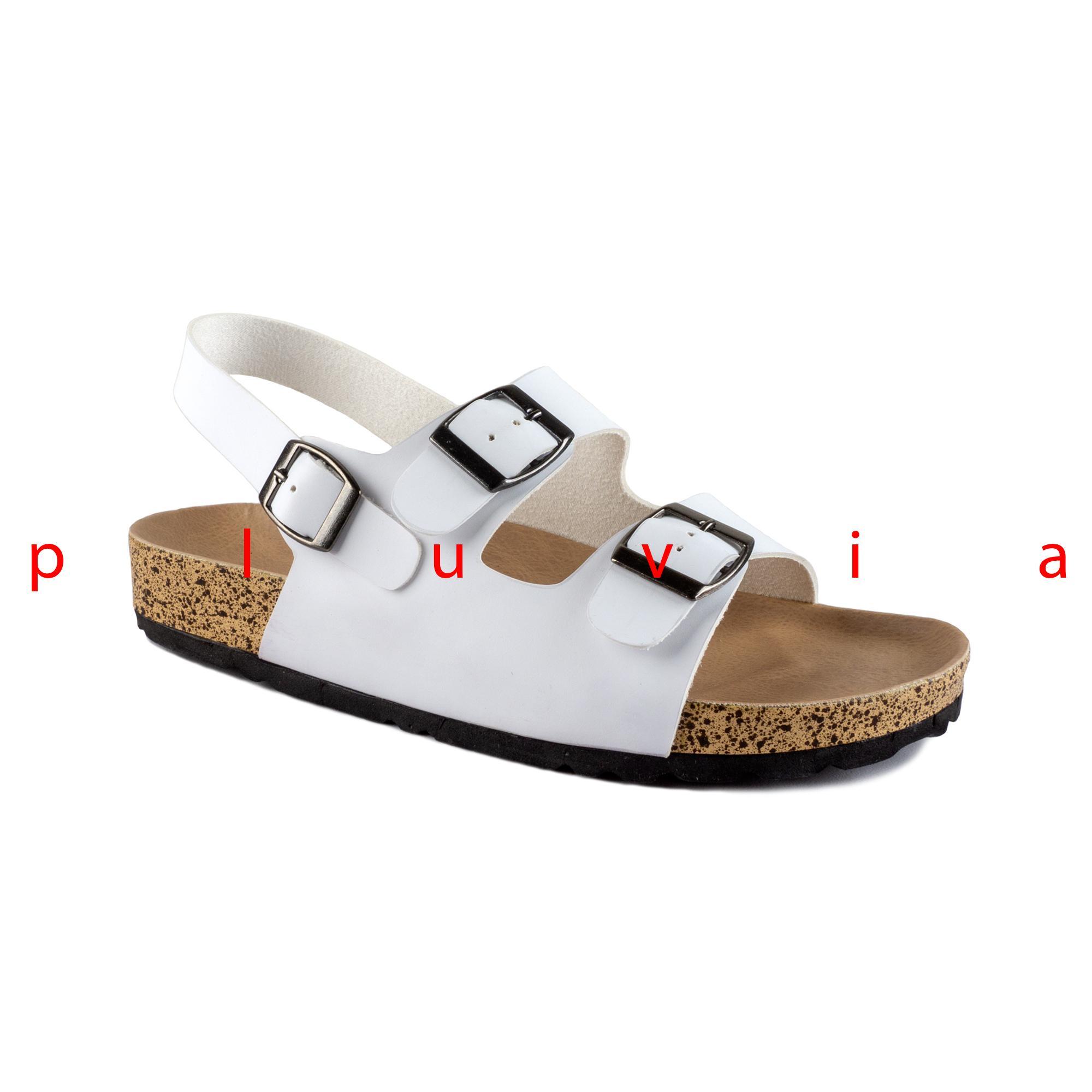 Pluvia - Sandal Wanita Sendal Flat Footbed JENIA - Putih / Hitam / Camel - 2