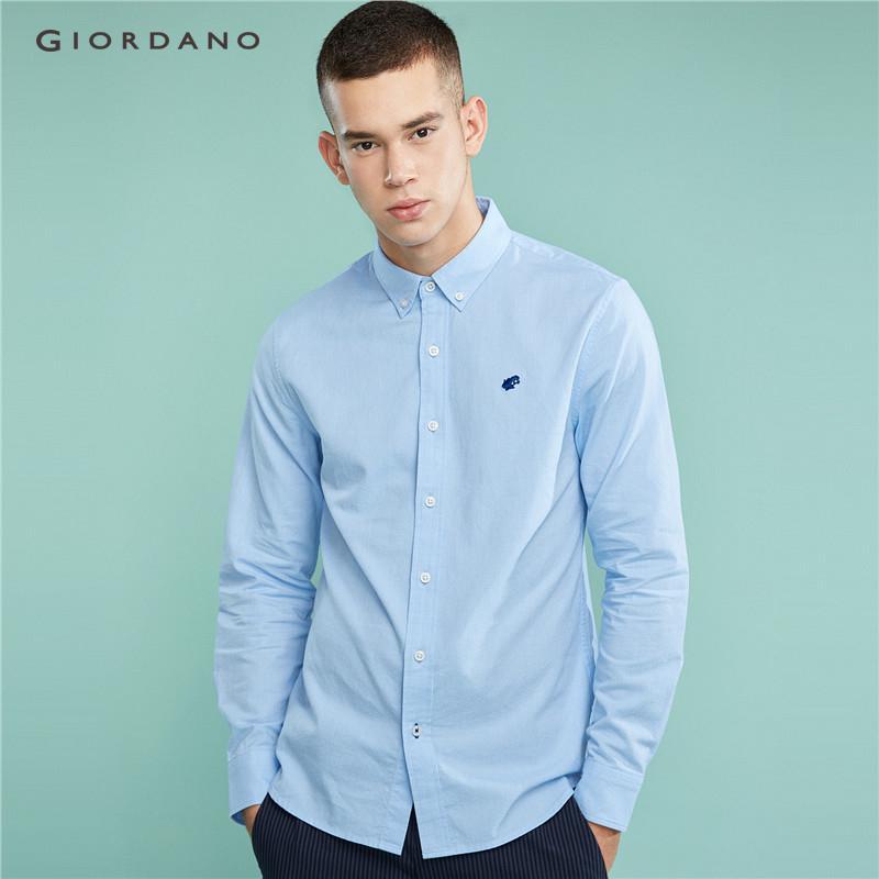 Giordano Men Embroidery frog long-sleeve oxford shirt  Free Shipping   01048026 b9e58048e4