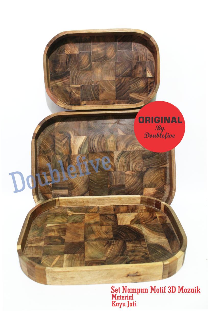baki kayu – nampan kayu jati unik oval satu set isi 3 ukuran 343126 cm mozaik