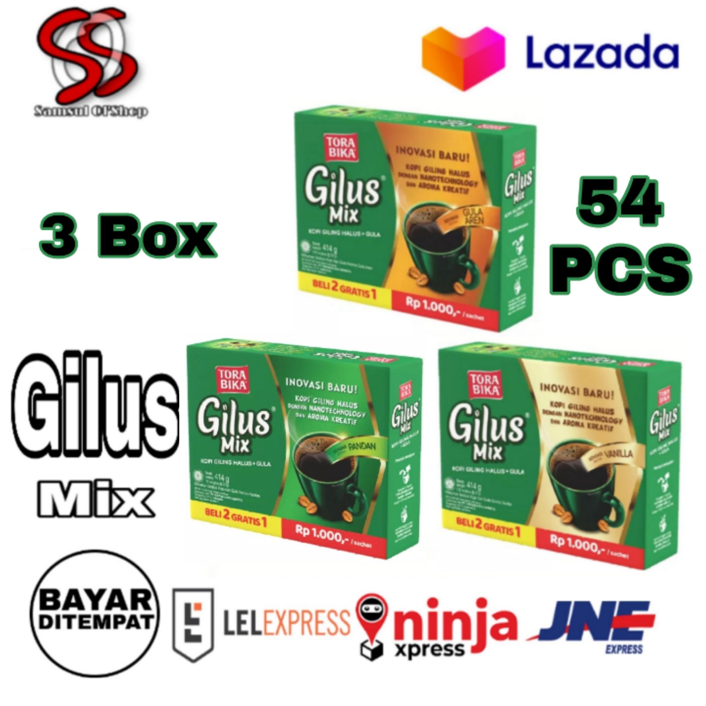torabika kopi gilus mix box (3 rasa vanilla-gula aren-pan tiga box) kopi gilus mix isi perbox 18 sachet total 3 box isi = 54 pcs
