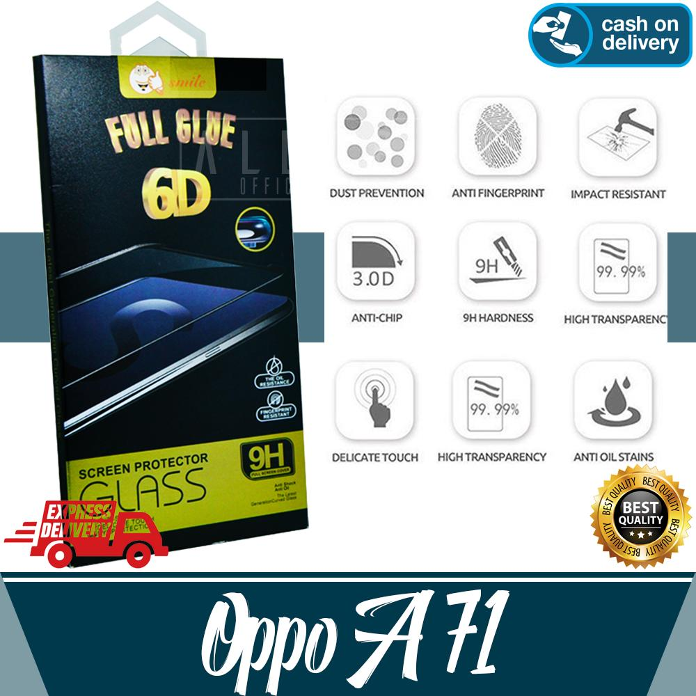Aldora Tempered Glass Oppo A71 6D Full Curved Screen Protector Smile Series Premium HD Quality