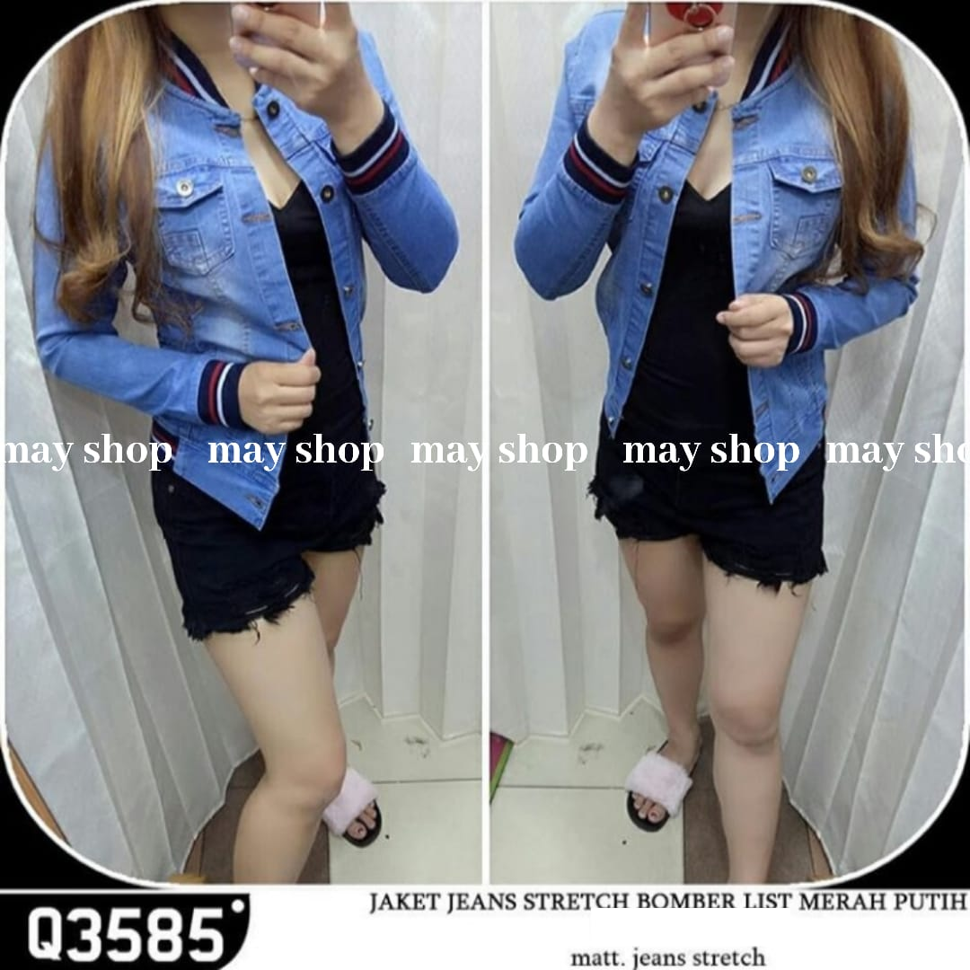 may – jaket jeans wanita/jaket bomber list merah model