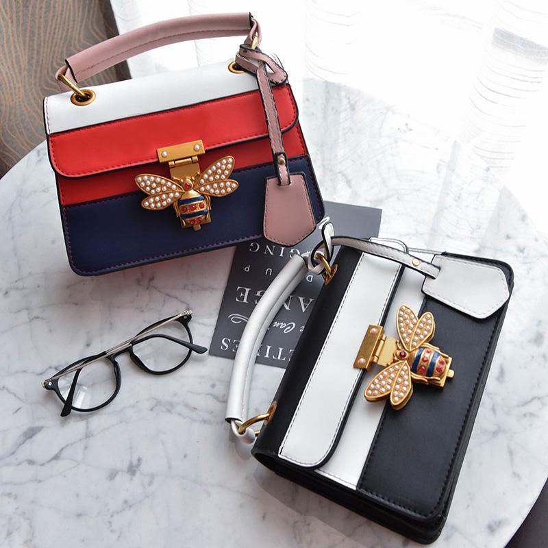 ... lebar tali bahu Terbaru. 2017 model baru modis Gaya Korea lebah Warna kombinasi tas tangan netral tas selempang tas wanita ...