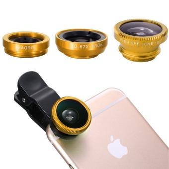 Fish Eye 3 in 1 Untuk Smart Phone Dan Camera - Gold