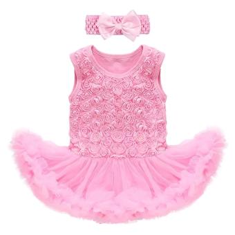Bayi yang baru lahir bayi perempuan Berwarna merah muda mawar gaun baju monyet Baju Senam +