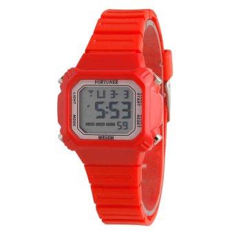 Fortuner Digital Jam Tangan Wanita - Tali Karet - Merah - FR881