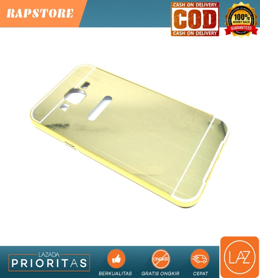 Aluminium Bumper Hardcase with Mirror Back Cover for Samsung Galaxy J7 2015 - Golden