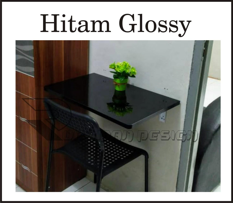 meja lipat dinding hpl 100 x 40 cm putih glossy