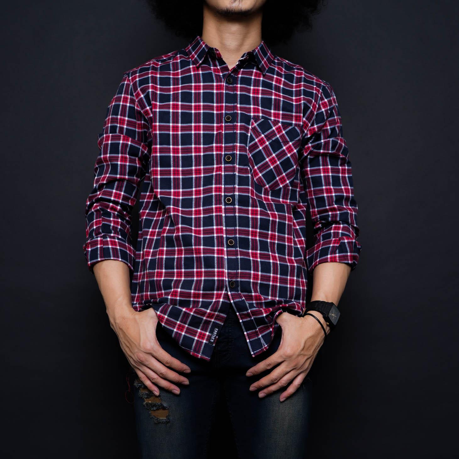 zs_fashion 6784 kemeja flanel pria lengan panjang exclusive baju kemeja flanel cowok kerja kantoran kemeja distro
