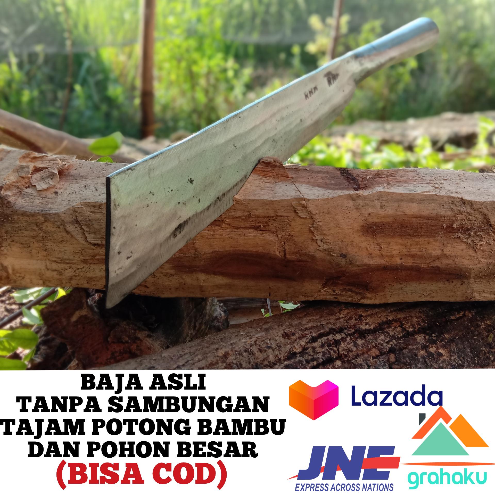golok gagang besi bahan per baja – arit sabit besar pemotong kayu kelapa