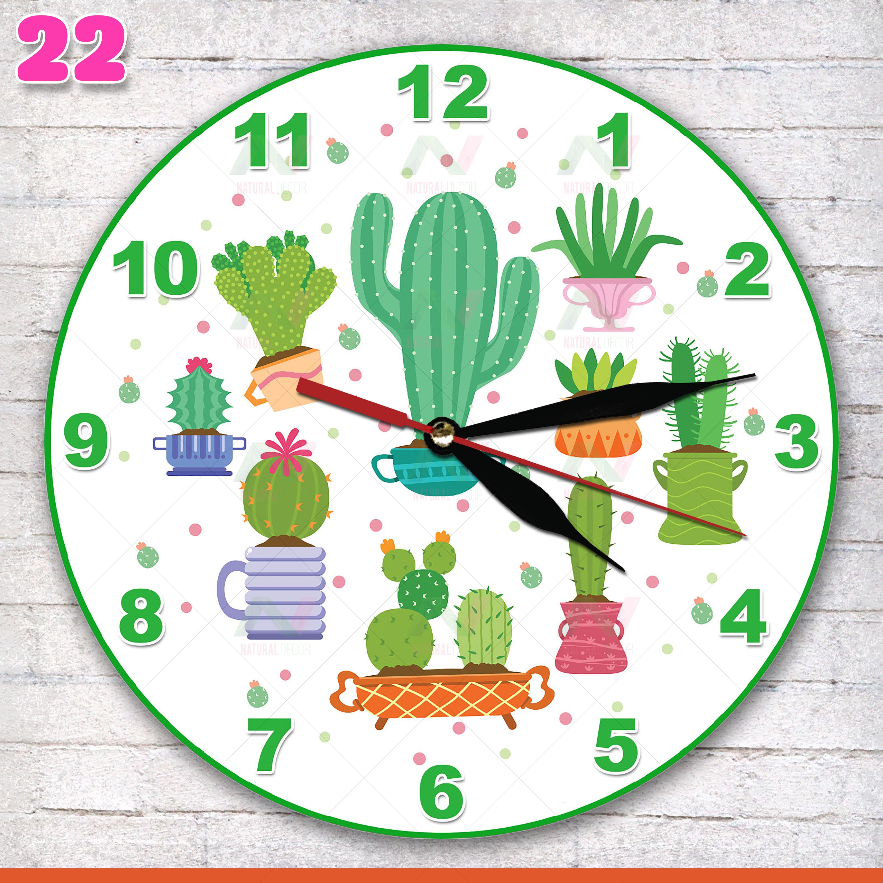 22 jam dinding motif bunga kaktus wall decor interior ruang unik