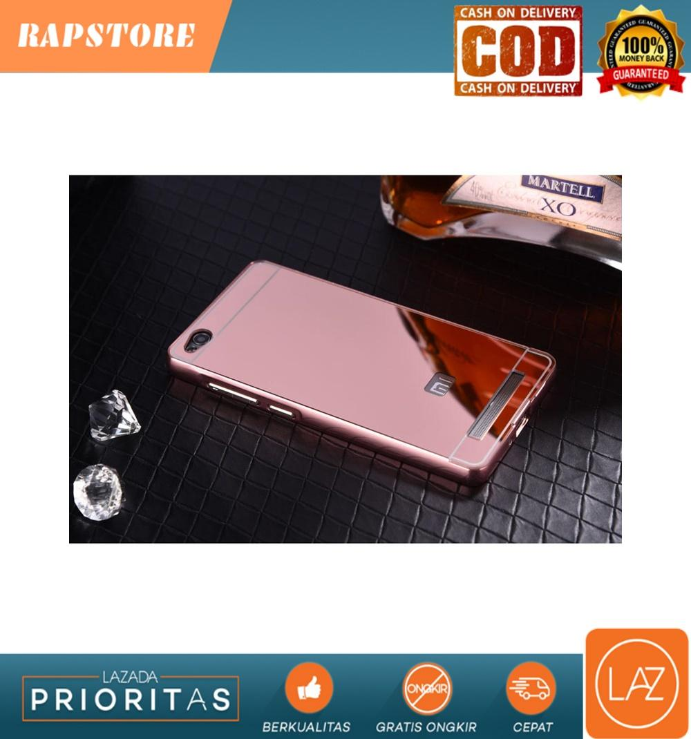 Aluminium Bumper with Mirror Back Cover for Xiaomi Redmi 3 - Rose Gold