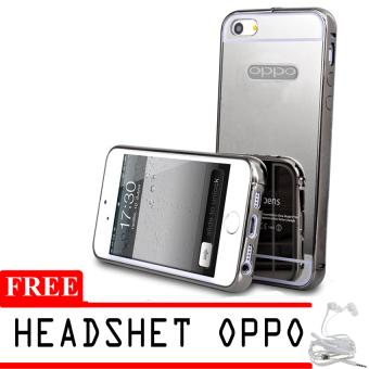 Mirror Aluminium Bumper untuk Oppo Neo 7 + Gratis Headset - Silver