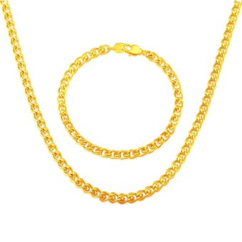 new fashion necklace bracelets Jewelry Sets Gold Chain For Men Necklace Bracelet Women 18K Real Gold