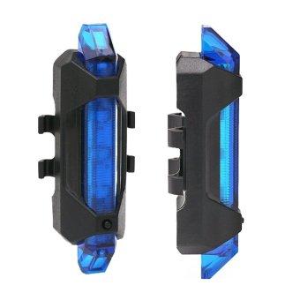USB Pengisian Bike Taillight 5-LED 4 Mode Isi Ulang Sepeda Naik Gunung Ekor Depan