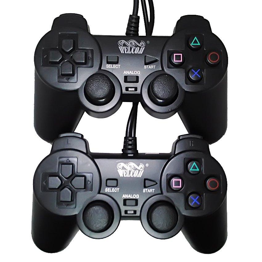 welcom gamepad double getar hitam – stick usb