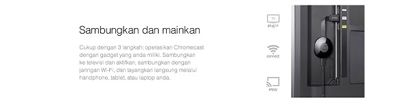 Official Google Chromecast 2 HDMI Streaming - TV Dongle - 1 TahunGaransi Resmi