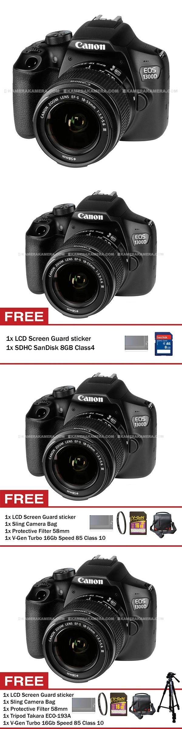 Canon EOS 1300D (Wi-Fi) 18-55mm III + Screen Guard + SDHC SanDisk 8GB Class4 - Canon EOS 1300D 18MP (Wi-Fi) with Lens EF-S 18-55mm III