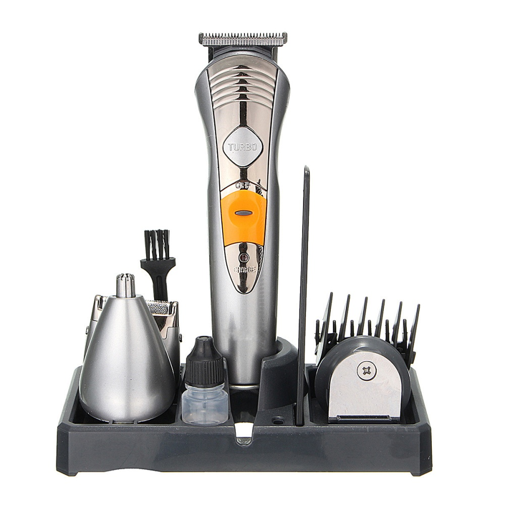 1 x Shaver 1 x Trimmer Blade 3 x Adjustable Guide Comb 1 x Power Adapter 1 x Cleaning Brush 1 x Comb 1 x Base Holder 1 x English User Manual