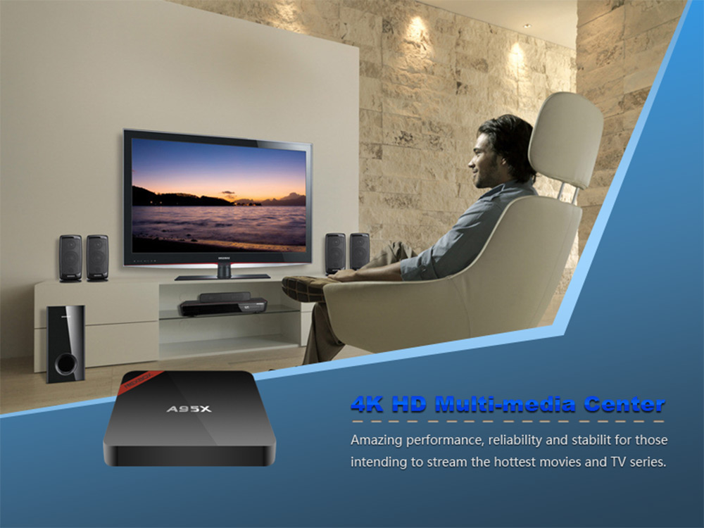 NEXBOX A95X - B7N Smart TV Box Amlogic S905X Quad core 64 Bit Cortex A53 4K x 2K H.265 2.4GHz WiFi Bluetooth 4.0