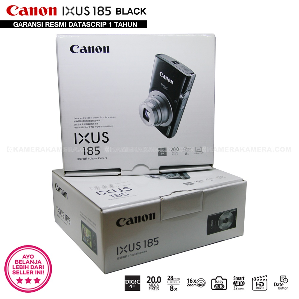 Belanja Terbaik Canon Ixus 185 Black Pocket Camera 20 Mp 28mm Wide 8x Zoom Free Sdhc 16gb Case Tripod Dan Prosesor Pencitraan Digic Yang Terkenal Dari Dapat Merekam Gambar Tajam Bebas Noise Dengan Warna Alami Jelas Dalam Kondisi