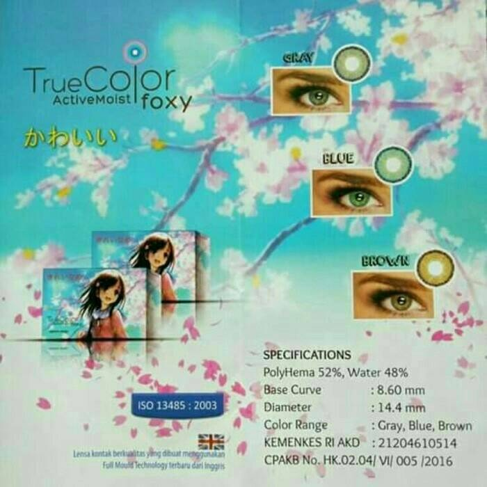 Softlens True Color Foxy Contact Lens - Brown + Free Lenscase 1 Pcs