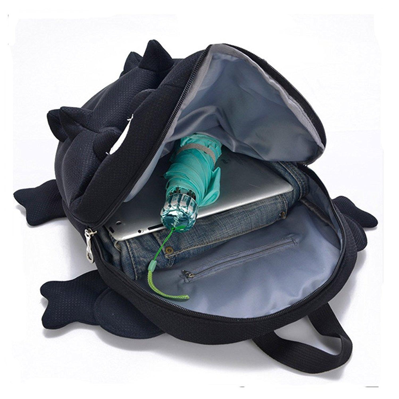 ... Cute 3d Monster Nylon Backpack For Teenage Girls 165 Inch Black Backstab Chameleon Shape School Bag