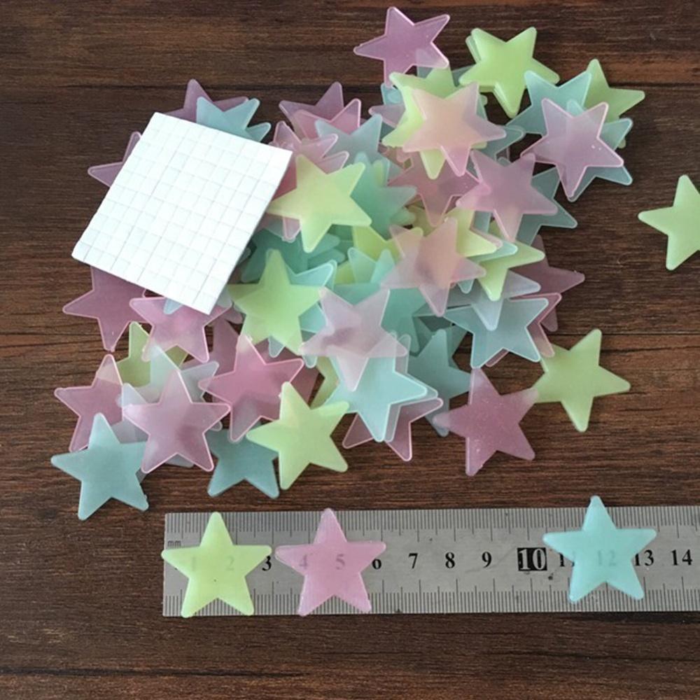 Hengsong 100 Buah Bercahaya Bintang Rumah Stiker Dinding Ruang Gelap Toedjoe Panas Dalam Hanger Langit Dekorasi Cahaya Pcs 1 Bulan The