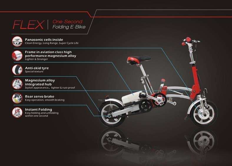 "Dynabike Sepeda Listrik Lipat Flex12"" - Merah   Lazada"
