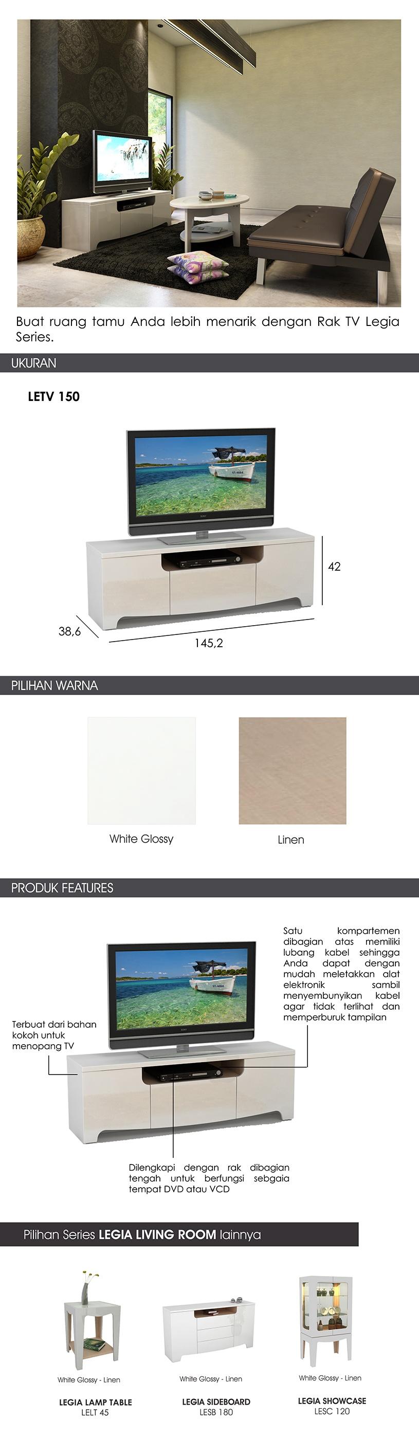 Harga Pro Design Legia Rak Tv White Glossy Linen Khusus Jawa Bali Brico Sanremo Dark Black Image