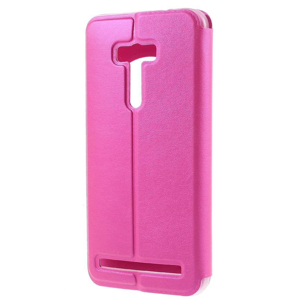 View Window Smart Leather Case For Asus Zenfone Selfie ZD551KL Hot Pink 1