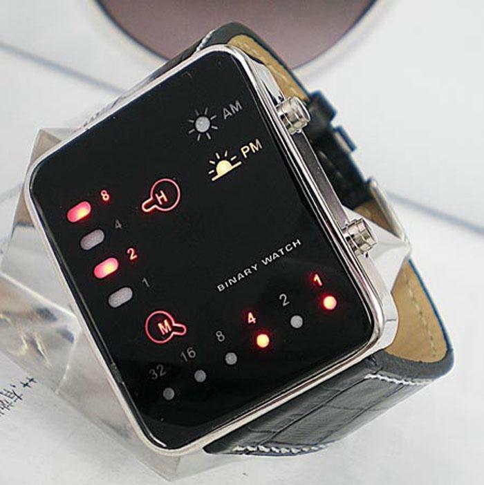 Digital LED merah olahraga jam tangan biner PU kulit wanita haid. image. image. image. image