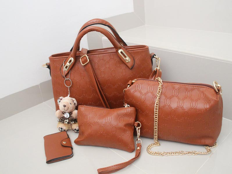 Tas Fashion - High Quality Korean Style 4in1 - Coklat