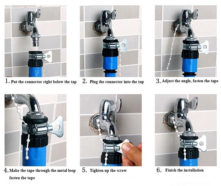 ... untuk menghubungkan selang air dengan kran air, dengan lingkaran logam yang dapat digunakan untuk mencegah konektor bocor atau jatuh dengan efektif, ...