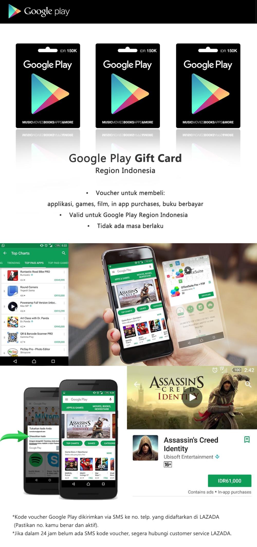 Google Play Gift Card Region Indonesia 150000 Lazada Itunes Rp Detail Produk Dari