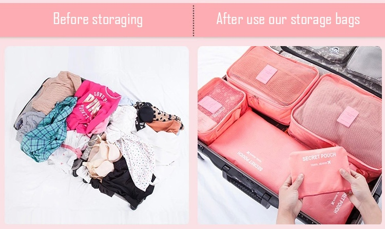 ... New Arrival 6 in 1 Travel Storage Organizer Bags Set Packing Cube Pouch Bag Sky Source
