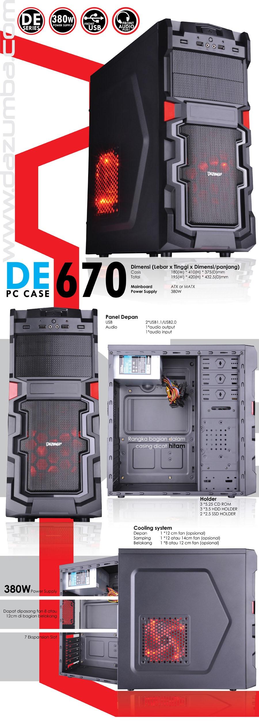 Dazumba Gaming Computer Case De 670 Power Supply Ps 380w Adaptor Epson Tmu 220 Tmt81 82 Tmu950 180 Original New Deskripsi Produk Image Kata Kunci Juga Dicari Harga Saya