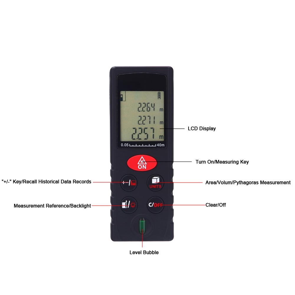 Pengukur jarak laser dengan presisi tinggi dapat digunakan untuk mengukur jarak, luas dan volume. Hal ini juga dapat digunakan untuk pengukuran tidak ...