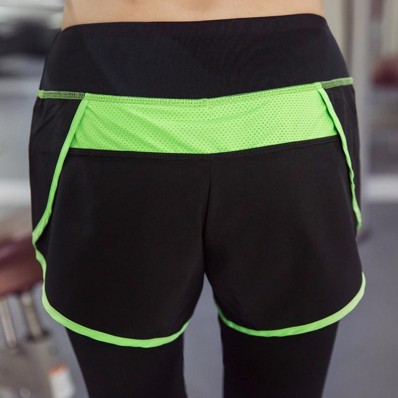 ... 2016 wanita celana Yoga latihan olahraga kebugaran Gym celanalegging wanita langsing palsu dua potong elastis sumbu
