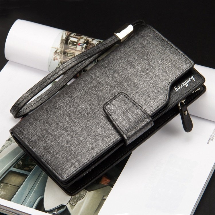 Product details of Baellery Korean Style Long Men Wallet Leather Hand Bag Credit Card Coin Holders with Hand Strap