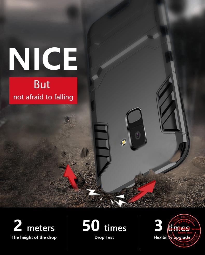 Rzants untuk A8 Plus 2018 [Armor Series] Shockproof Kickstand Hard Back Cover Case untuk Samsung Galaxy A8 Plus 2018- intl