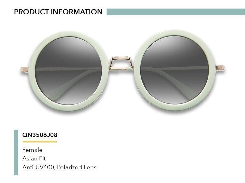 QINA Kacamata Polarized Wanita Putih Bundar Lensa Abu Abu Proteksi UV 400 QN3506