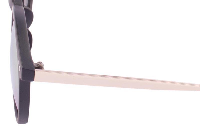 JRS Kacamata Unisex Hitam lengan kacamata Gold Bundar Proteksi UV 400 Lensa Kuning Mirror P3042-RV