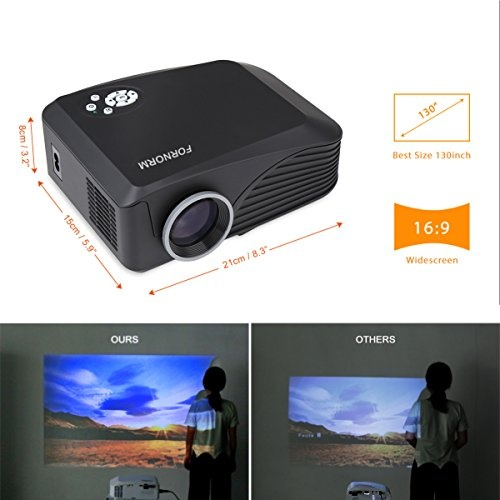 FORNORM LCD Portable Mini Projector Multimedia Home Theater Video Projector Support HD 1080P HDMI USB SD AV for Outdoor Indoor Movie Night DVD Player ...