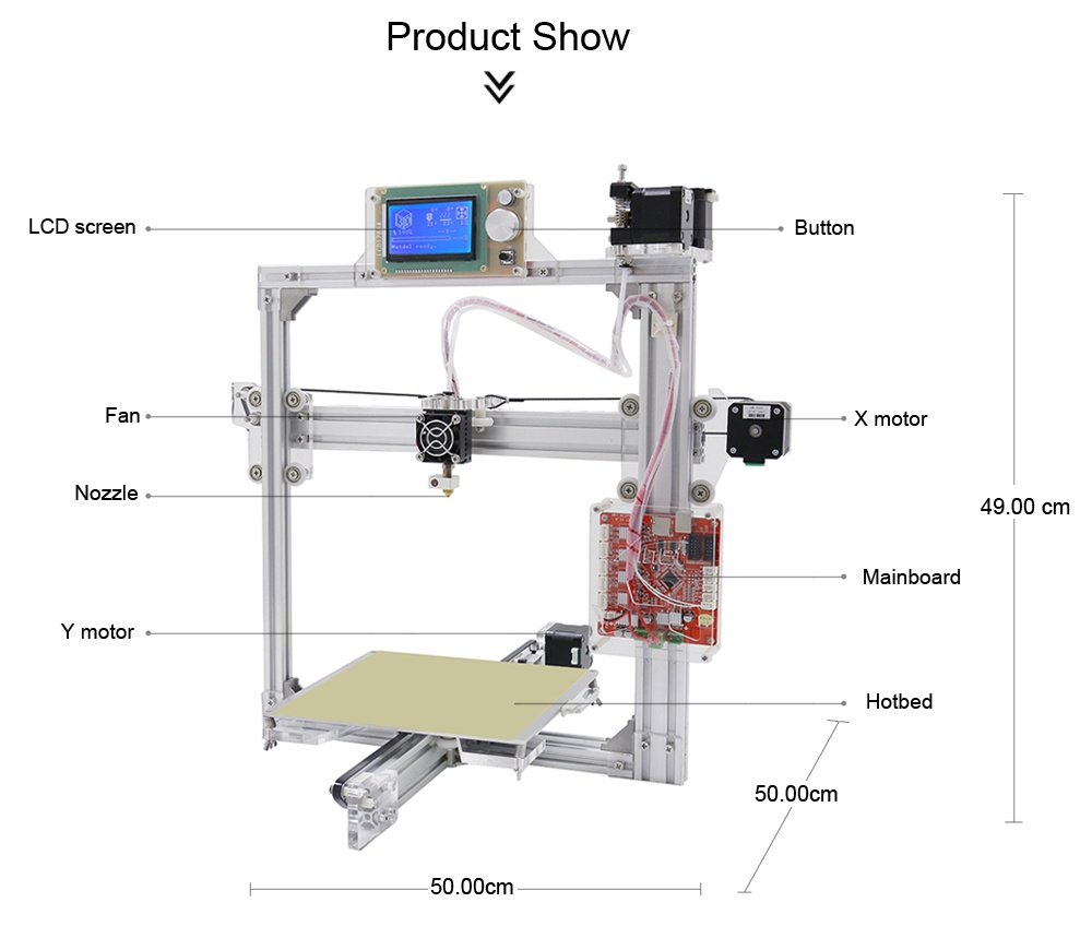Anet A2 Plus Aluminum Metal 3D Three-dimensional DIY Printer with TF Card Off-line Printing / Optional LCD Display
