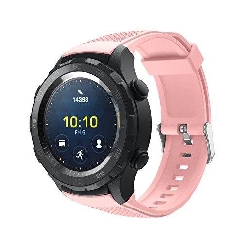 ... Silicone Replacement Sports Strap for Huawei Watch 2 Sports Model Smartwatch, Black Army Green Soft Pink