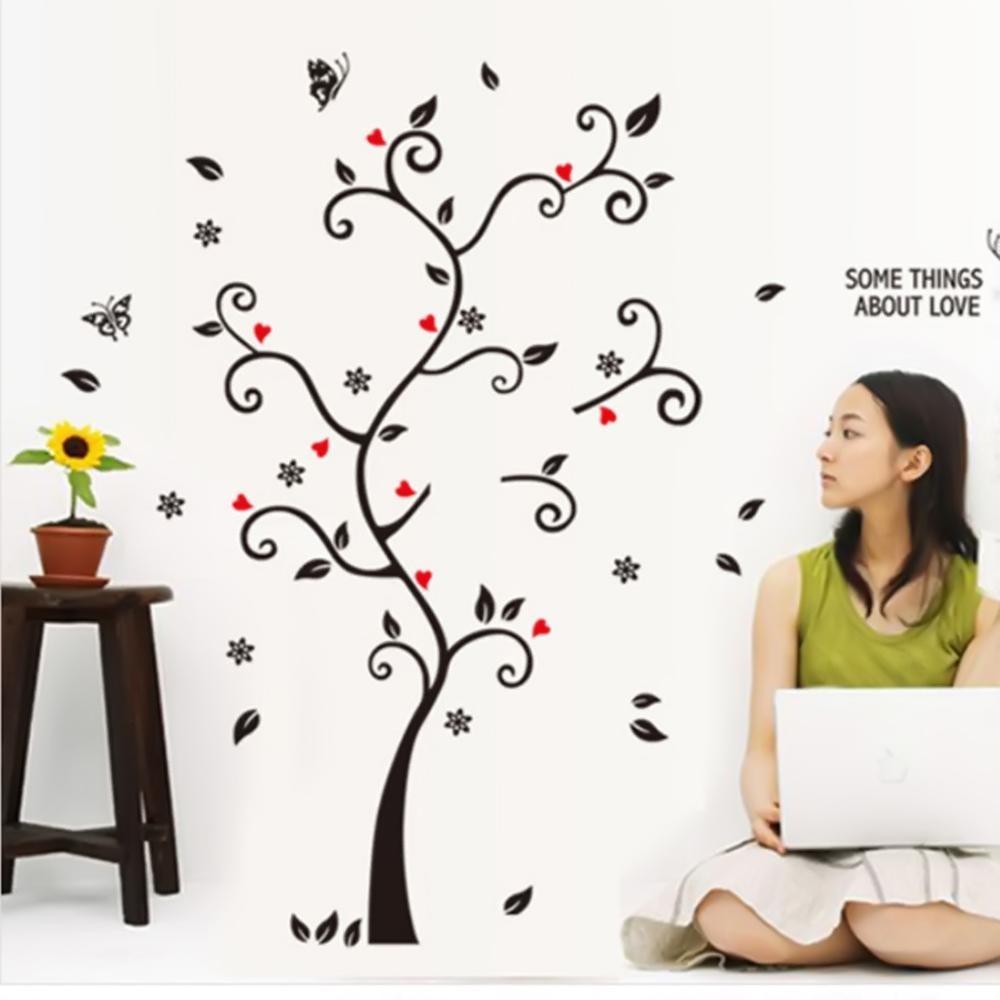 3D Stiker Bingkai Foto Wallpaper Gambar Hitam Pohon Stiker Dinding Dekorasi Tiang Rumah Intl