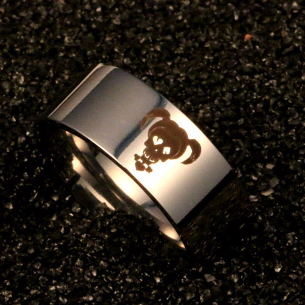 Fancyqube Suicidal Squadrons DC Comic Harley Quinn Joker Ring Couples Steel Ring Titanium Ring Lover Ring Silver1-13