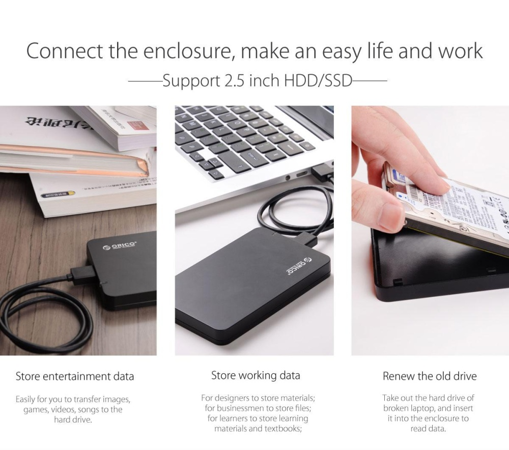 portable hard drive enclosure makes life easy and cosy. the USB3.0 hard drive